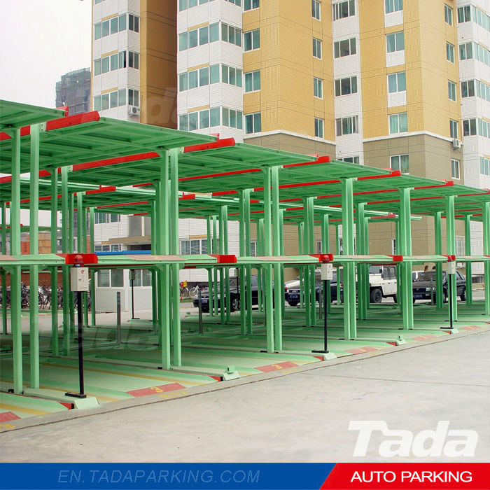 pit type three-layer four-post car parking lift