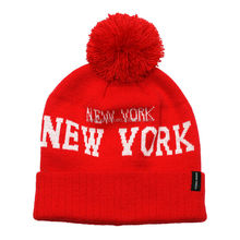 NEW YORK acrylic knit pom pom beanie hat bobble hat