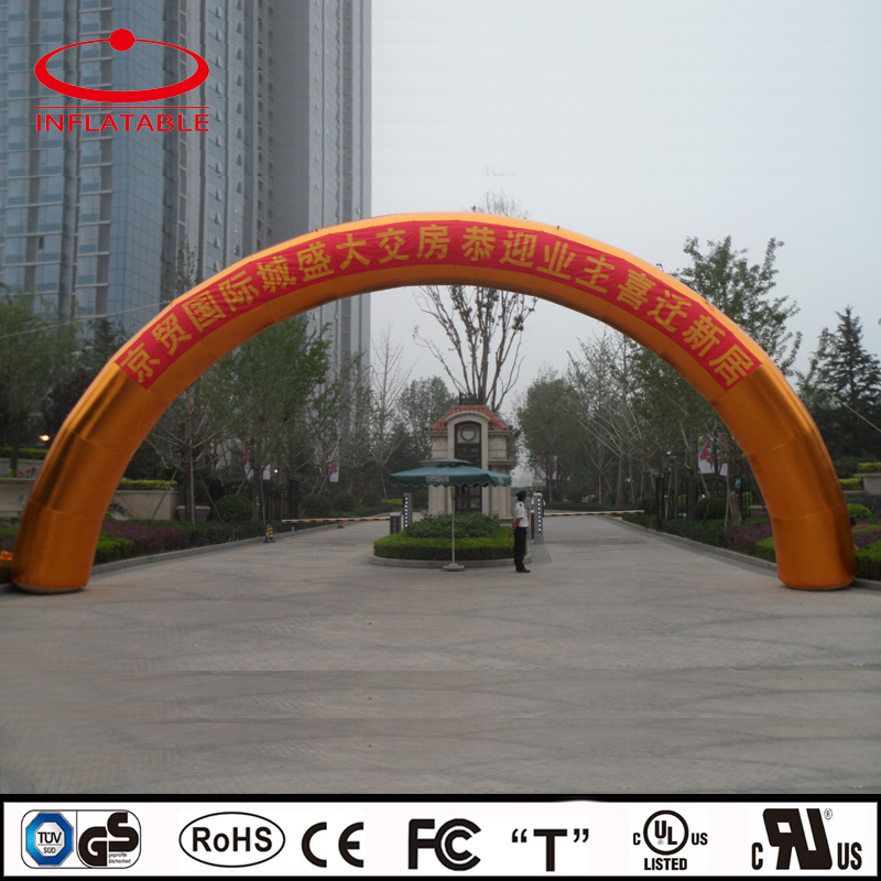 outdoor inflatable golden publicity rainbow arch with slogan