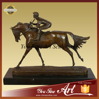 Bronze male riding horse man statue