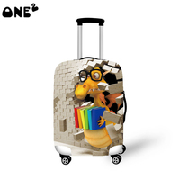 ONE2 design reading dinosaur pattern folding travel kids animal luggage cover