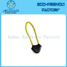 Yellow colored nylon string plastic zipper pull tab for garments