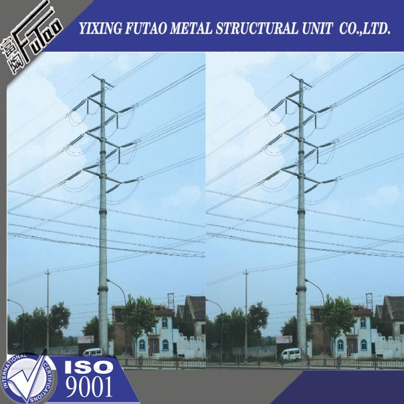 Quality galvanized 12m 800dan electrical power pole for 33kv transmission line project