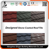 Galvanized Steel Plate Material Sun Stone Chip Coated Metal Roof Shingles