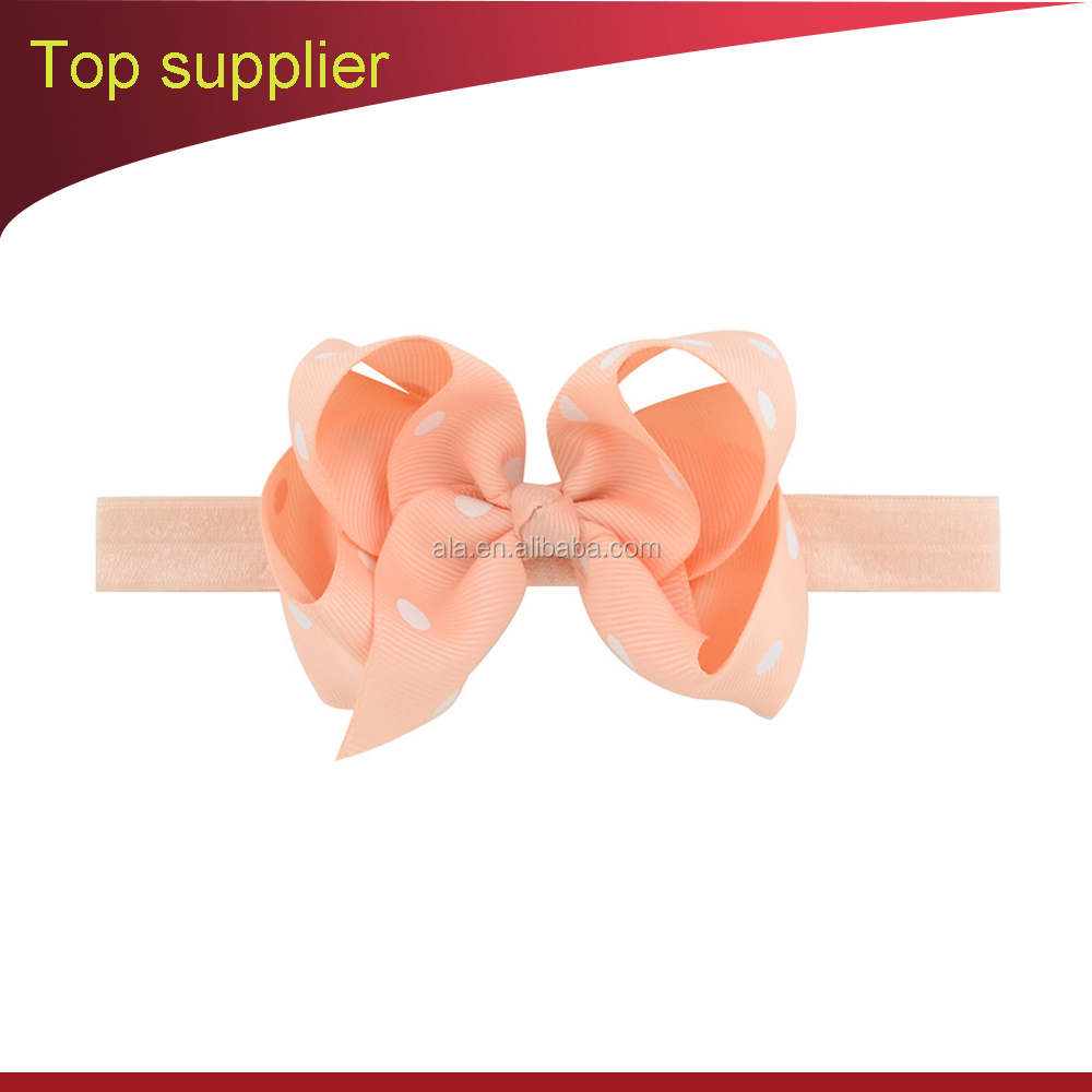 Factory for baby headband bow design dot printed custom wholesale fast delivery