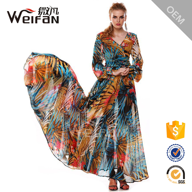 Western Long Ladies Fancy Beautiful Floral Design Maxi Dress