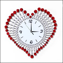 2015 Yiwu Home Goods Gifts Living Room Creative Acrylic Beads Heart Shape Sweet Wedding Gifts Wall Clock