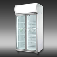 600 - 1200 LITERS DOUBLE GLASS DOOR COMPREESER REMOVEABLE DISPLAY CHILLER