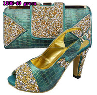 1308-40 green color shoes matching bags / fair in price italian style shoes matching bags/ popular matching shoes bags