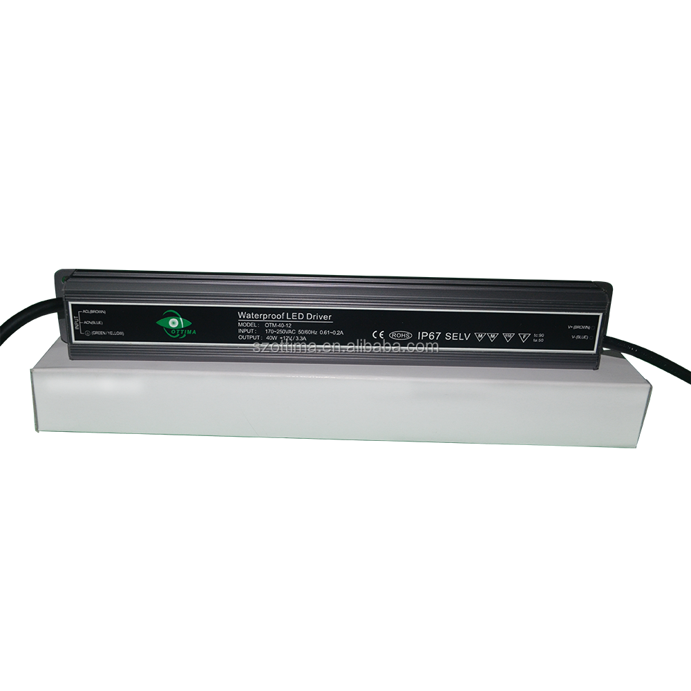 shenzhen transformer waterproof IP 67 40w 12v constant voltage led driver high PF power supply for flood light