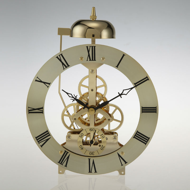 Gold color Metal quartz skeleton clock movement with hourly Chime SKM80-D6-G