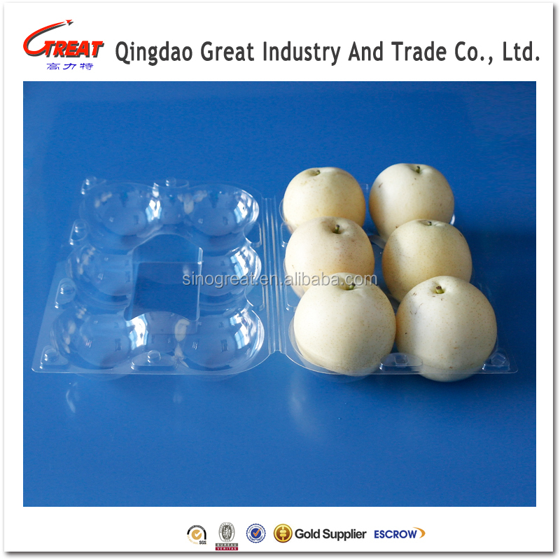 Selling hot 6 compartments clear plastic apple/peach fruit packaging tray