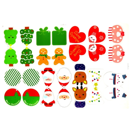 14 PCS Christmas Tree Decoration Wishing Cards Hang Ornament, Random Pattern Delivery