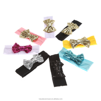 Wholesale Sequin Bow Cotton knot headband infant toddlers headband