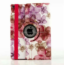 Flower Design 360 Rotating Mutil-angle Stand Flip PU Leather Case for iPad Air 2, for iPad 6