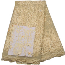 2017 Popular new design african french lace fabrics for high-end wedding gold african velvet lace fabrics