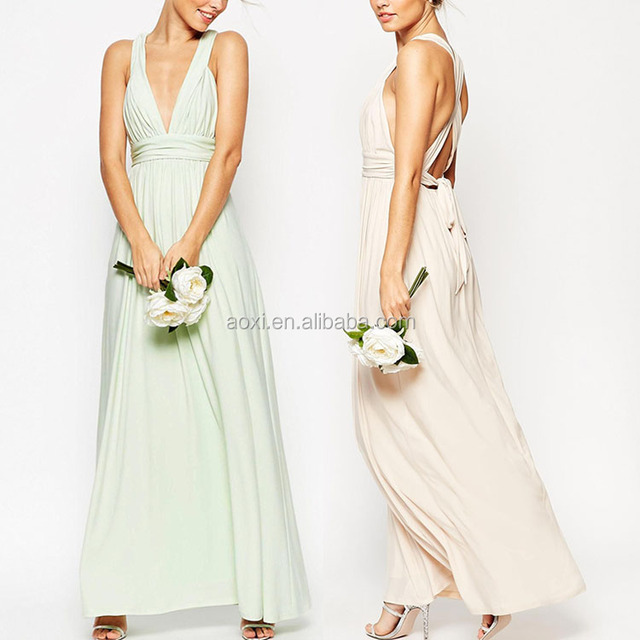 2016 Wholesale Pleated Front Crossover Fitted Waist bridesmaid Maxi Evening Dress For Wedding