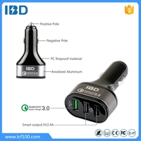 Super hot mobile phone accessory aluminium usb car charger with qc3.0 quick charging for iPhone iPad Samsung Galaxy s7