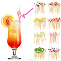 Cocktail decorative bead picks knotted curly teppo bamboo bbq party skewers