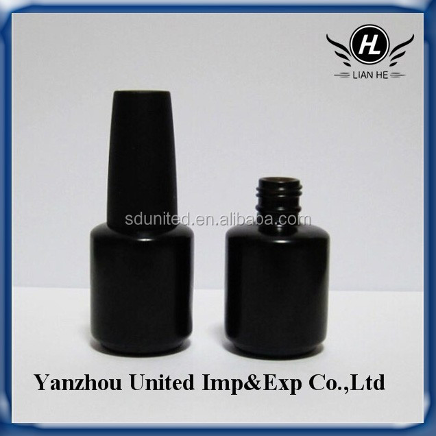 15ml UV coated black glass gel nail polish bottle