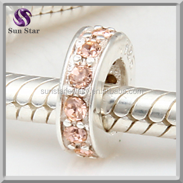Best sales products in alibaba Silver 925 diamante round charms spacer bead with light orange CZ
