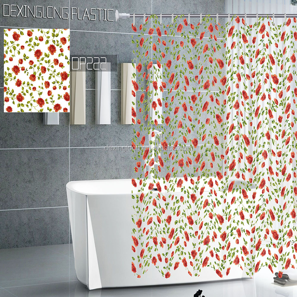 wholesale transparent vinyl printed fabric hookless shower curtain