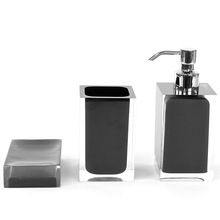 Luxury Black Hotel Decorative Clear Resin Bathroom Accessories Sets