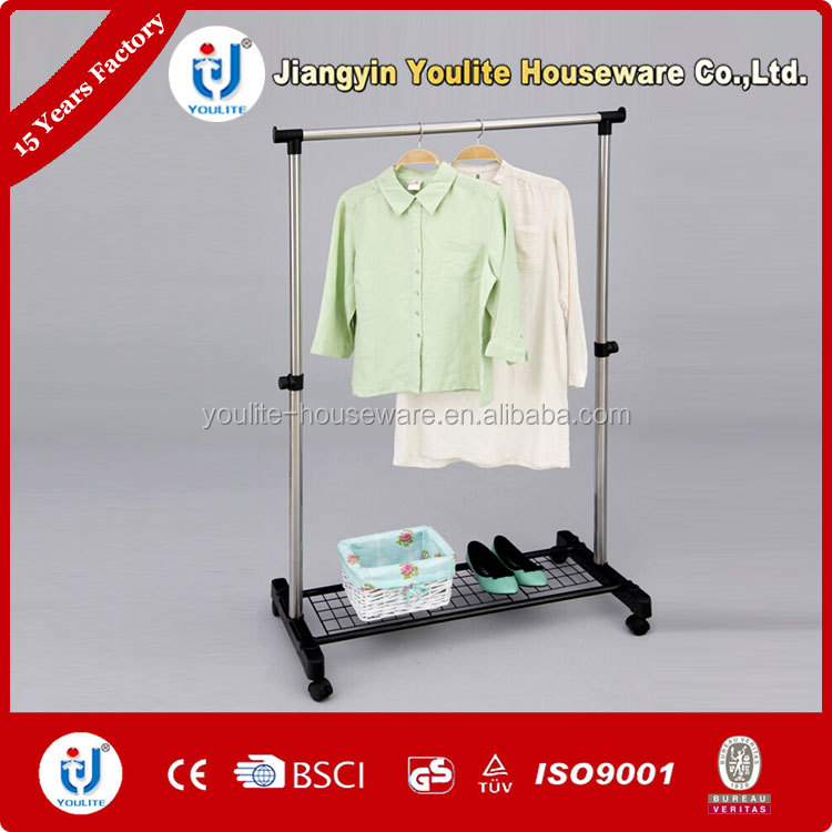 mobile single-pole single pole telescopic clothes rack