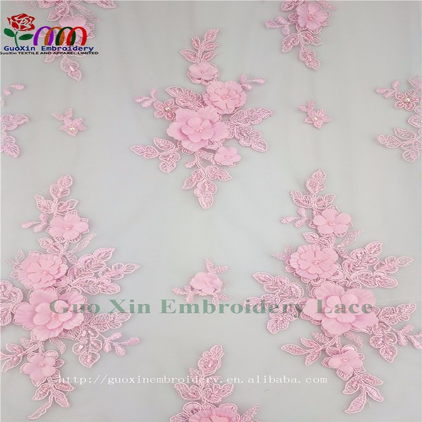 New design purple 3D lace fabric for party dress