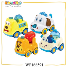 kids moving toy friction animal car and truck plastic mini car toy with light