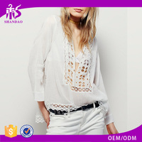 2016 Guangzhou Shandao New Model Summer Fashion Women Sexy V Neck Crochet Net White Cotton Long Sleeve Blouse