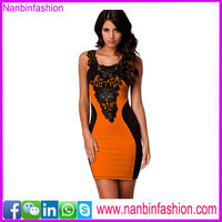 New style cheap wholesale orange color bodycon latest fashion dresses