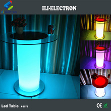 Glass table top illuminated led bar tables