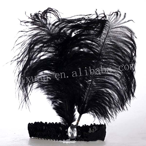 (DX-JQ-0461)GREEN OSTRICH FEATHER CARNIVAL HEADDRESS