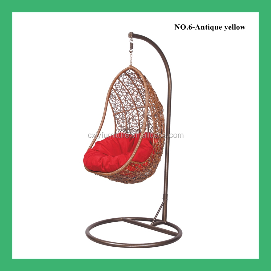 NO.6 Cheap price indoor outdoor patio rattan wicker hanging egg swing chair with metal stand