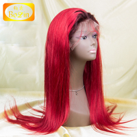 fashion ombre coloe 1b/red full lace wig for white women human hair