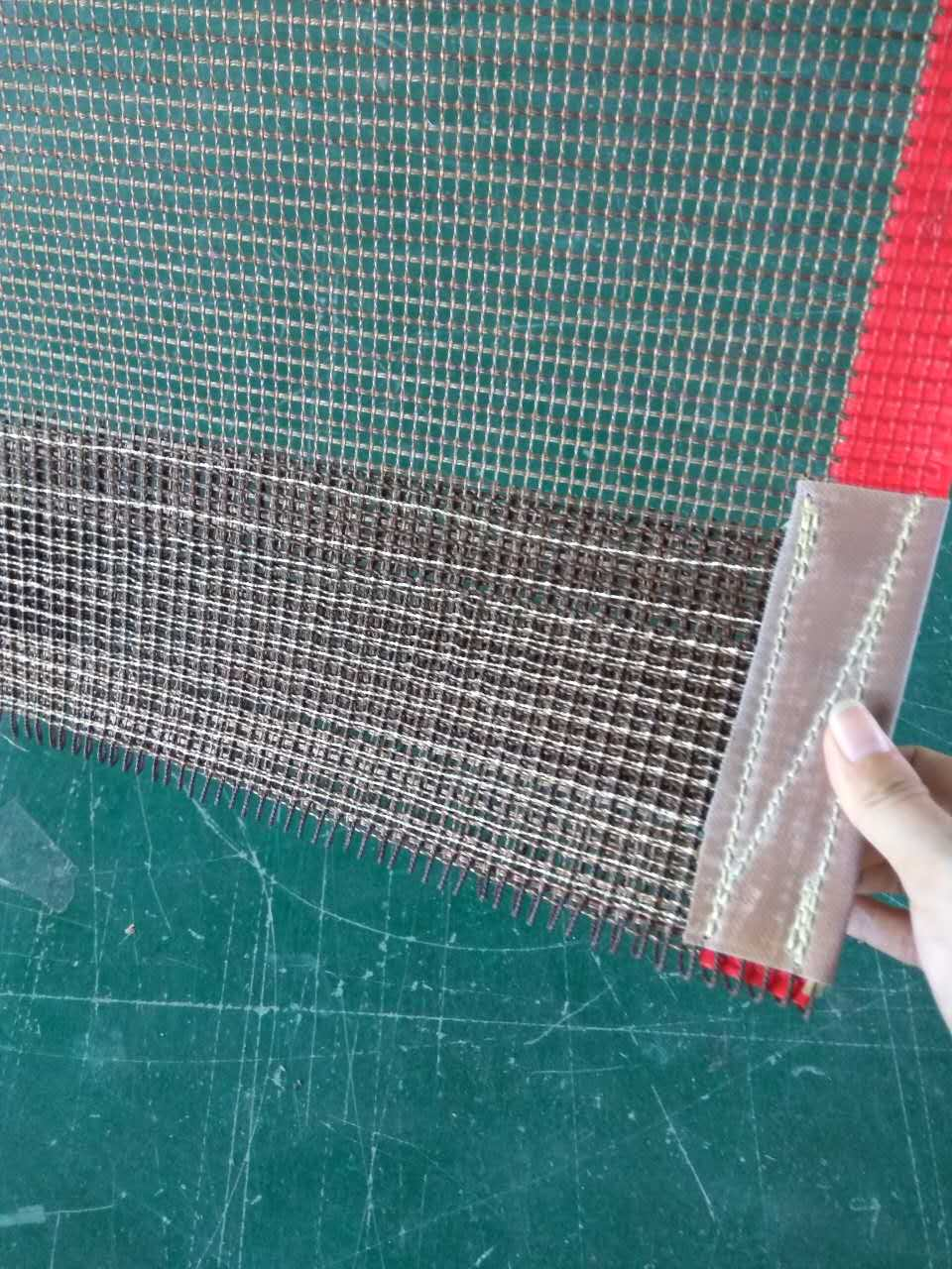 Teflon coated fiberglass open mesh conveyor belt