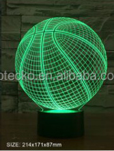 Latest arcylic 3D vision basketball shape decorative led night light