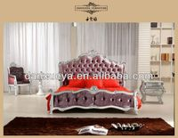 European style purple velvet bed in Guangzhou furniture