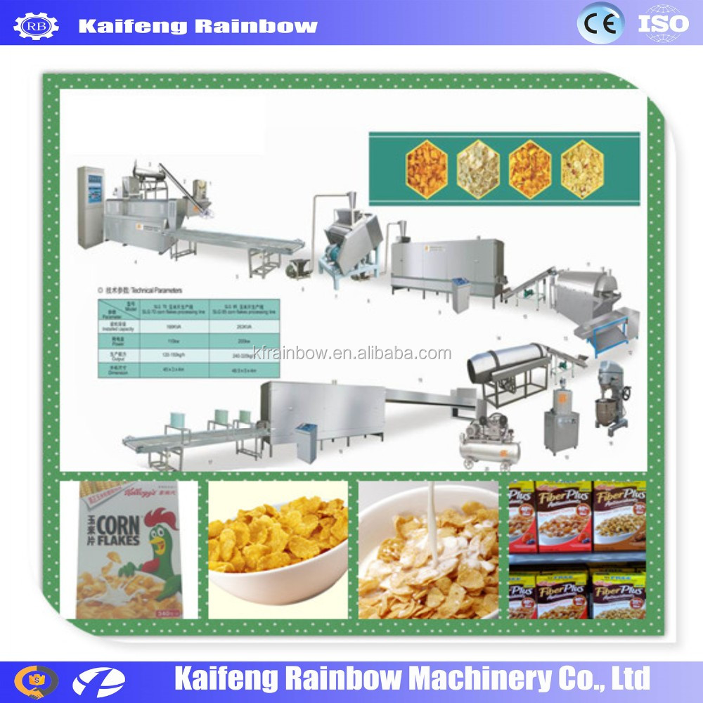 Commercial CE approved Breakfast Cereal Extrude Machine corn flakes making machine/making line with ISO