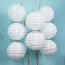 Round White Collapsible Christmas Decorations Chinese Paper Lantern