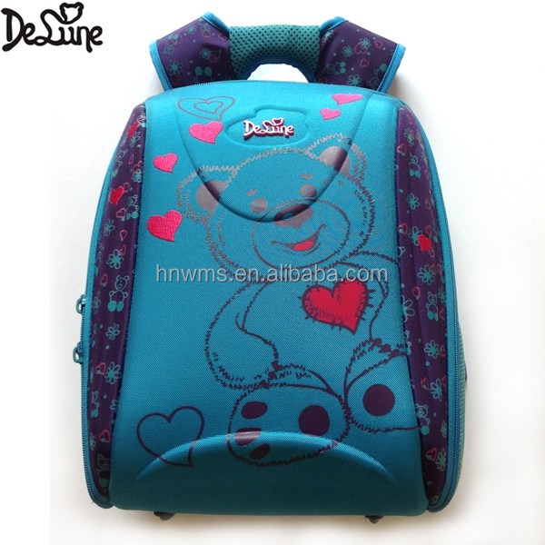 Cute bear pattern two large compartments padded back school bag