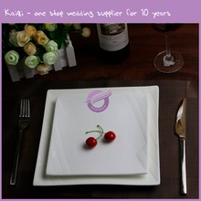 K9322 Wholesale durable square wedding flat white porcelain cake plate