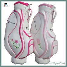 new design hotsale white pu ladies golf bag