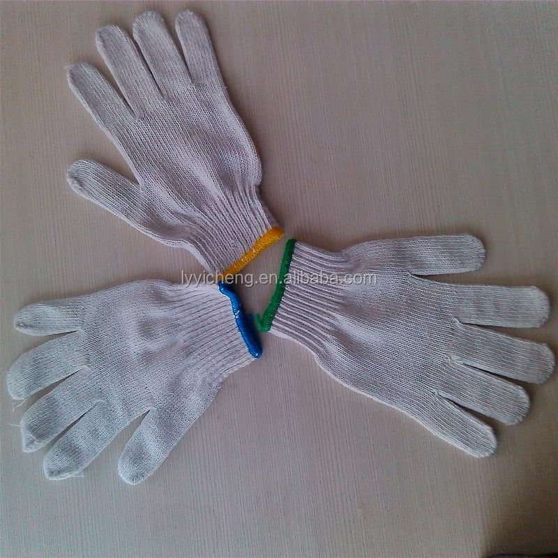 7/10 gauge white knitted cotton gloves manufacturer in china/perfect white gloves black light