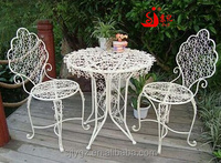 Metal flowers decorative of iron garden set table and chair