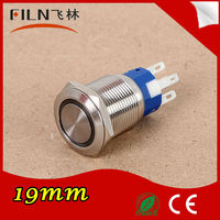 round ring 19mm 12v LED latching stainless steel push button light switches