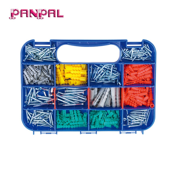 BSCI factory hot sale PP box package 350pcs of assorted sizes plastic wall plug anchors and wood <strong>screws</strong>