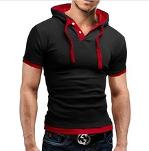 Hot Sale 8 <strong>Color</strong> M-5XL Mens Casual Shirt Short Sleeve Slim Fit Casual Clothing Hooded Tops Summer Male T Shirt EDT08