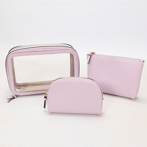 PU PVC clear Cube shape 3 in 1 makeup pouch set cosmetic bag with pink purple color